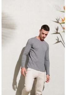 Heren-t-shirt BIO-katoen ronde hals lange mouwen
