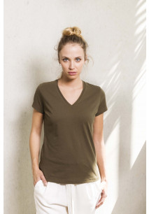Dames-t-shirt BIO-katoen V-hals