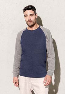 Tweekleurige herensweater BIO ronde hals raglanmouwen