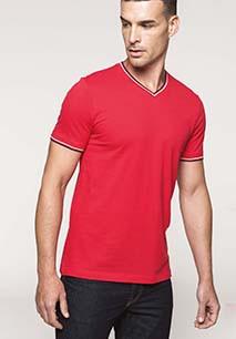Heren-t-shirt piqué V-hals