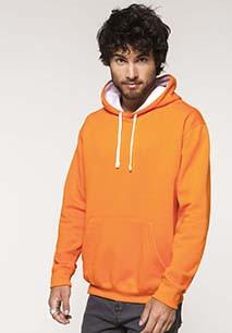 Hooded sweater met gecontrasteerde capuchon