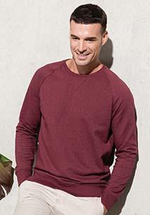 Herensweater BIO ronde hals raglanmouwen