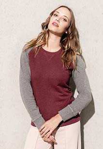 Tweekleurige damessweater BIO ronde hals raglanmouwen