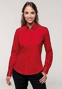 Dames poplin blouse lange mouwen