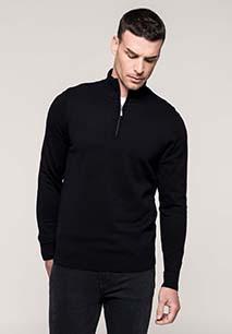 Heren pullover met ritskraag