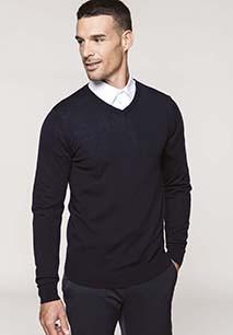 Heren pullover merinowol V-hals