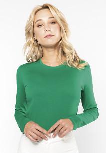 Dames T-shirt ronde hals lange mouwen