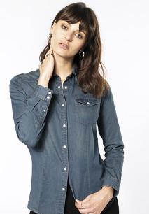 Dames denim blouse lange mouwen