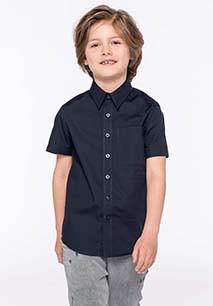 Kinder poplin overhemd korte mouwen