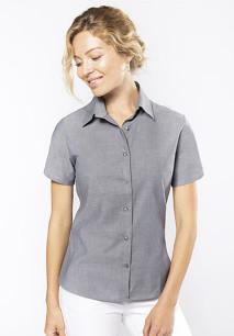 Dames oxford blouse korte mouwen