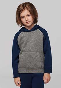 Tweekleurige sweater met capuchon kids