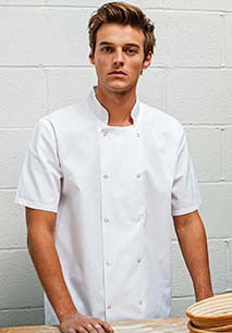 Studded Front Short Sleeve Chef's Jacket