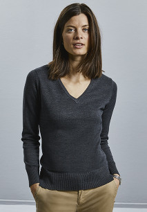 Ladies' V-neck Knitted Pullover