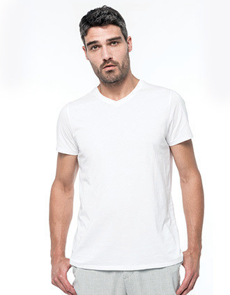 Heren-t-shirt Supima® V-hals korte mouwen