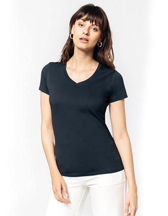 Dames-t-shirt Supima® V-hals korte mouwen