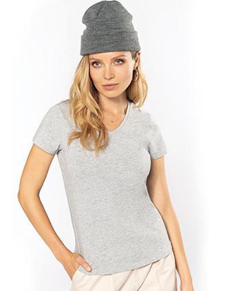 Dames-t-shirt V-hals korte mouwen