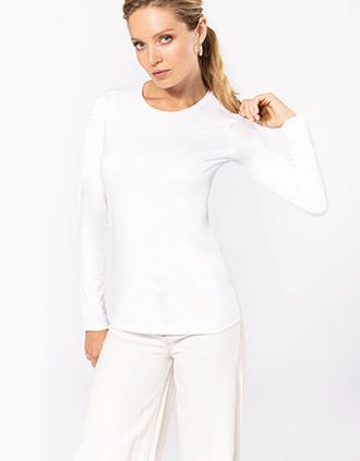 Dames-t-shirt ronde hals lange mouwen