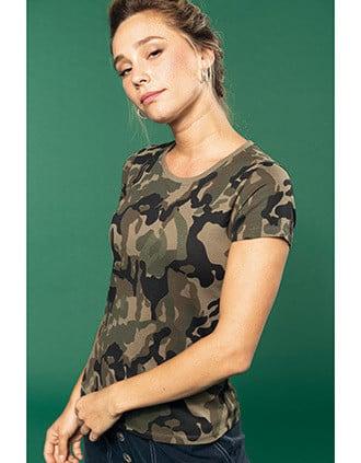 Dames-t-shirt camo korte mouwen