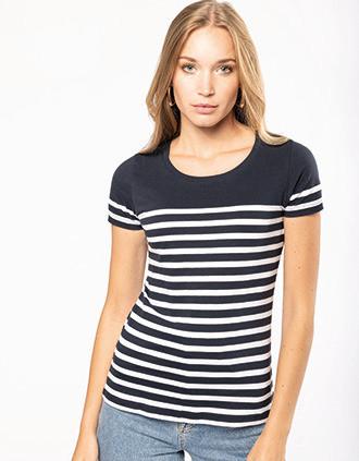 Marine-t-shirt ronde hals Bio dames