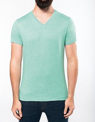 Heren-t-shirt V-hals polykatoen