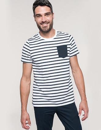 Gestreept T-shirt met zak en korte mouwen