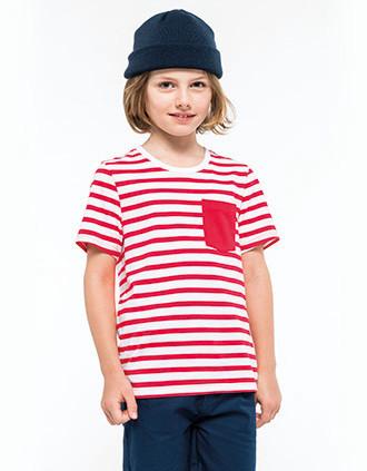 Gestreept T-shirt met zak en korte mouwen kids
