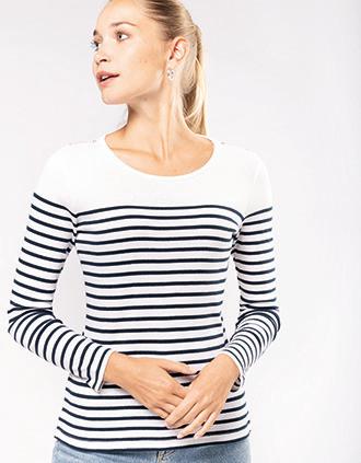 Gestreept dames-t-shirt lange mouwen