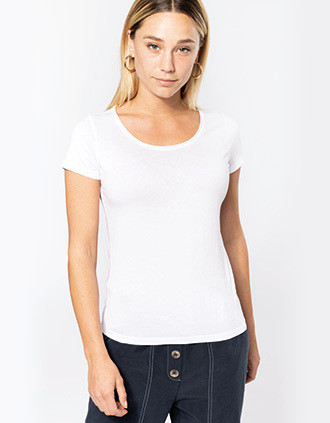 Bio dames-t-shirt kraag met onafgewerkte rand korte mouwen