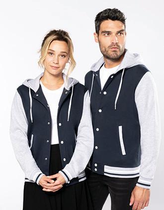 College jacket met capuchon unisex