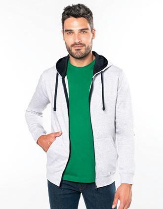 Herensweater met rits en capuchon in contrasterende kleur
