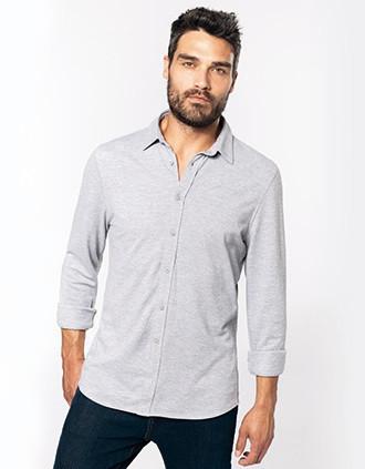 Piqué overhemd lange mouwen