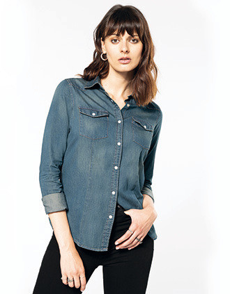 Dames denim blouse lange mouwen