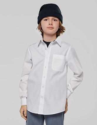 Kinder poplin overhemd lange mouwen