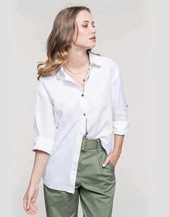 Damesoverhemd van linnen met lange mouwen