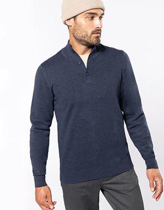 Premium pullover met knoopkraag