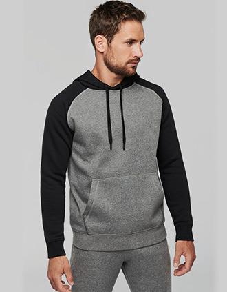 Tweekleurige sweater met capuchon volwassene