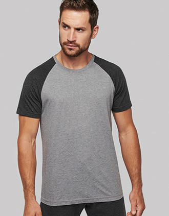 Tweekleurig Triblend sport-t-shirt met korte mouwen volwassene