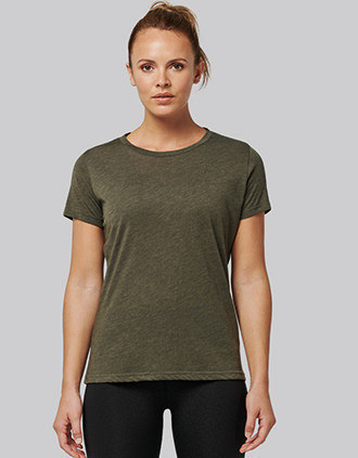Damessport-T-shirt triblend met ronde hals